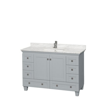 Acclaim 48 Single Bathroom Vanity Set Base Finish: Oyster Gray, Top Finish: White Carrera