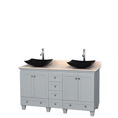 Acclaim 60 Double Bathroom Vanity Set Base Finish: Oyster Gray, Top Finish: Ivory