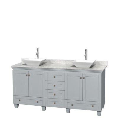 Acclaim 72 Double Bathroom Vanity Base Finish: Oyster Gray, Basin Finish: White Porcelain, Top Finish: White Carrera