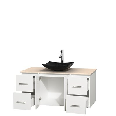 Centra 48 Single Bathroom Vanity Set Top Finish: Ivory, Base Finish: Matte White