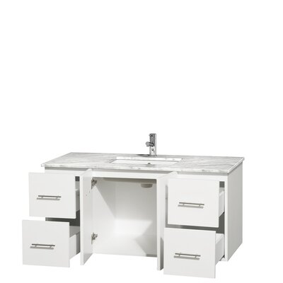 Centra 48 Single Bathroom Vanity Set Top Finish: White Carrera, Base Finish: Matte White