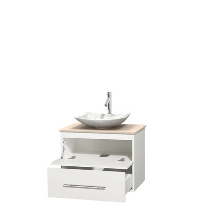 Centra 30 Single Bathroom Vanity Set Base Finish: Matte White, Top Finish: Ivory, Basin Finish: White Carrera Marble
