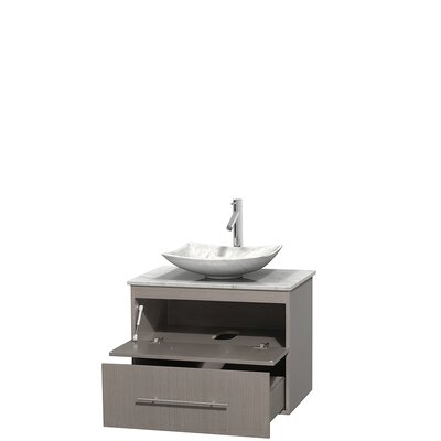 Centra 30 Single Bathroom Vanity Set Base Finish: Gray Oak, Top Finish: White Carrera, Basin Finish: White Carrera Marble