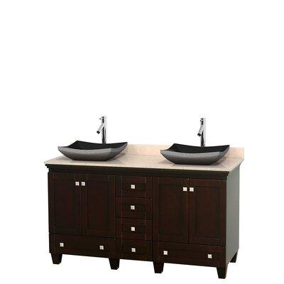 Acclaim 60 Double Bathroom Vanity Set Top Finish: Ivory, Base Finish: Espresso