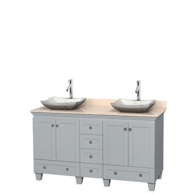 Acclaim 60 Double Bathroom Vanity Set Base Finish: Oyster Gray, Top Finish: Ivory, Basin Finish: White Carrera Marble