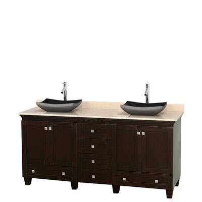 Acclaim 72 Double Bathroom Vanity Top Finish: Ivory, Base Finish: Espresso