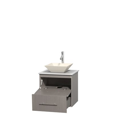 Centra 24 Single Bathroom Vanity Base Finish: Gray Oak, Basin Finish: Pyra Bone