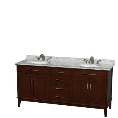 Hatton 72 Double Bathroom Vanity Base Finish: Dark Chestnut, Top Finish: White Carrera