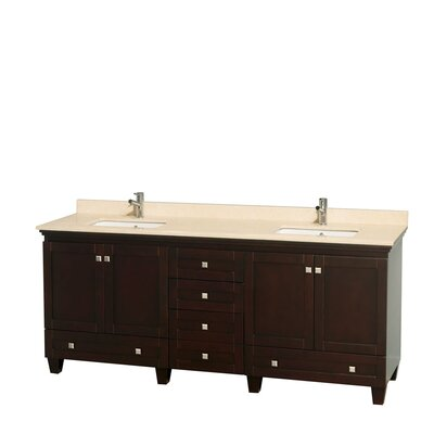 Acclaim 80 Double Bathroom Vanity Set Base Finish: Espresso, Top Finish: Ivory