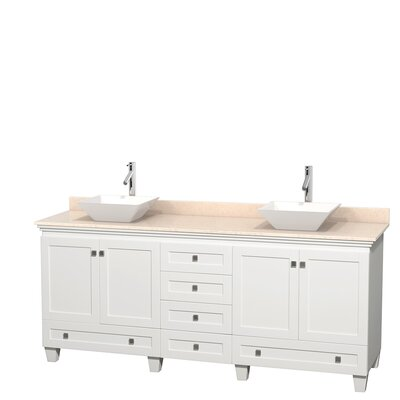 Acclaim 80 Double Bathroom Vanity Set Base Finish: White, Top Finish: Ivory, Basin Finish: White Porcelain
