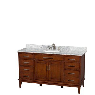 Hatton 60 Single Bathroom Vanity Set Base Finish: Light Chestnut, Top Finish: White Carrera