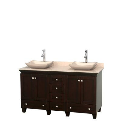 Acclaim 60 Double Bathroom Vanity Set Top Finish: Ivory, Basin Finish: Ivory Marble, Base Finish: Espresso