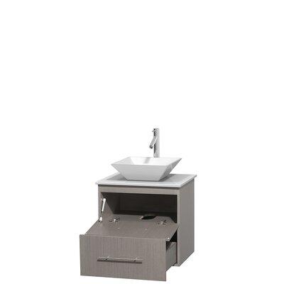 Centra 24 Single Bathroom Vanity Base Finish: Gray Oak, Basin Finish: Pyra White