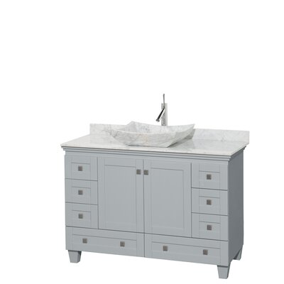 Acclaim 48 Single Bathroom Vanity Set Base Finish: Oyster Gray, Top Finish: White Carrera, Basin Finish: White Carrera Marble