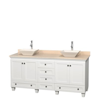 Acclaim 72 Double Bathroom Vanity Base Finish: White, Top Finish: Ivory, Basin Finish: Bone Porcelain