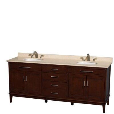 Hatton 80 Double Bathroom Vanity Set Base Finish: Dark Chestnut, Top Finish: Ivory