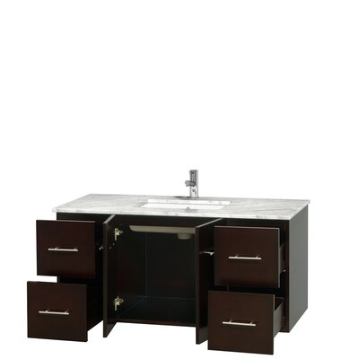 Centra 48 Single Bathroom Vanity Set Base Finish: Espresso, Top Finish: White Carrera