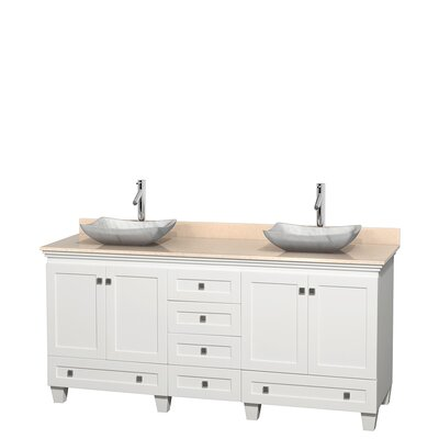 Acclaim 72 Double Bathroom Vanity Base Finish: White, Top Finish: Ivory, Basin Finish: White Carrera Marble