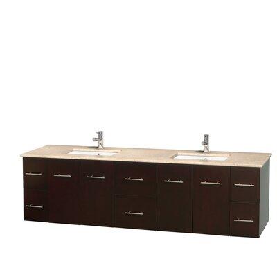 Centra 80 Double Bathroom Vanity Set Base Finish: Espresso, Top Finish: White Carrera