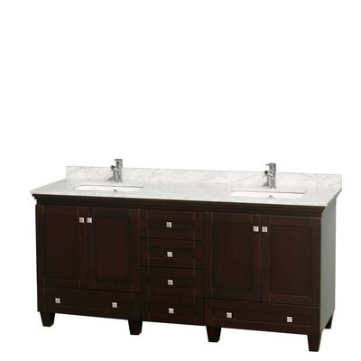Acclaim 72 Double Bathroom Vanity Base Finish: Espresso, Top Finish: White Carrera