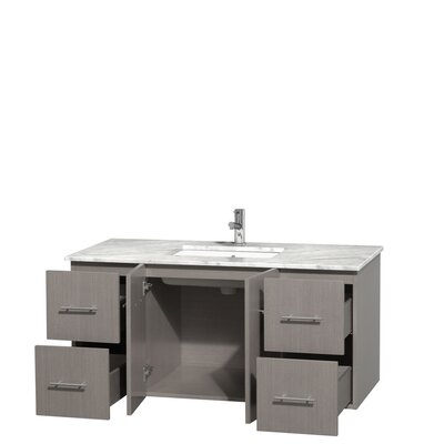 Centra 48 Single Bathroom Vanity Set Base Finish: Gray Oak, Top Finish: White Carrera
