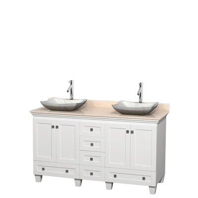 Acclaim 60 Double Bathroom Vanity Set Base Finish: White, Top Finish: Ivory, Basin Finish: White Carrera Marble