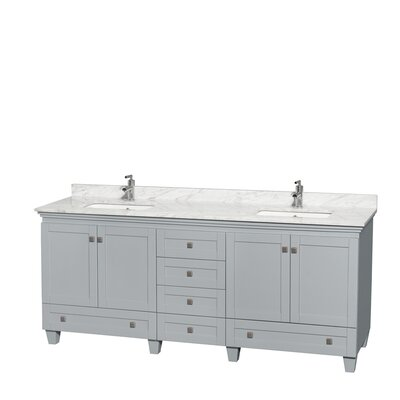 Acclaim 80 Double Bathroom Vanity Set Base Finish: Oyster Gray, Top Finish: White Carrera