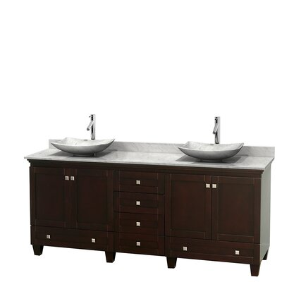 Acclaim 80 Double Bathroom Vanity Set Basin Finish: Ivory Marble, Top Finish: White Carrera, Base Finish: White