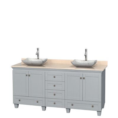 Acclaim 72 Double Bathroom Vanity Base Finish: Oyster Gray, Top Finish: Ivory, Basin Finish: White Carrera Marble