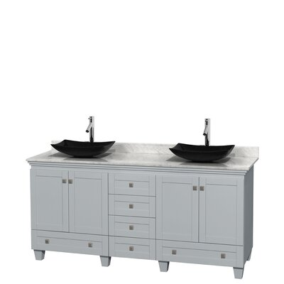 Acclaim 72 Double Bathroom Vanity Base Finish: Oyster Gray, Top Finish: White Carrera