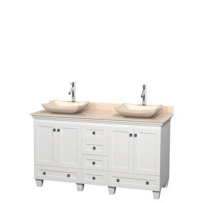 Acclaim 60 Double Bathroom Vanity Set Base Finish: White, Top Finish: Ivory, Basin Finish: Ivory Marble