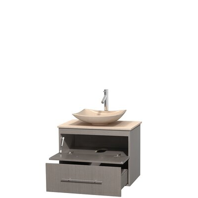 Centra 30 Single Bathroom Vanity Set Base Finish: Gray Oak, Top Finish: Ivory, Basin Finish: Ivory Marble