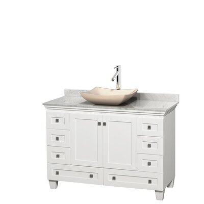 Acclaim 48 Single Bathroom Vanity Set Base Finish: White, Top Finish: White Carrera, Basin Finish: Ivory Marble