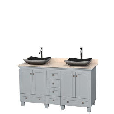 Acclaim 60 Double Bathroom Vanity Set Base Finish: Oyster Gray, Top Finish: Ivory