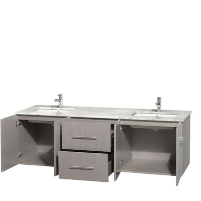 Centra 72 Double Bathroom Vanity Base Finish: Gray Oak, Top Finish: White Carrera