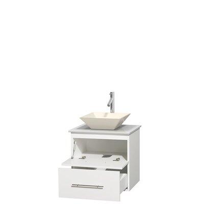 Centra 24 Single Bathroom Vanity Base Finish: Matte White, Basin Finish: Pyra Bone
