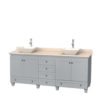 Acclaim 80 Double Bathroom Vanity Set Base Finish: Oyster Gray, Top Finish: Ivory, Basin Finish: Bone Porcelain