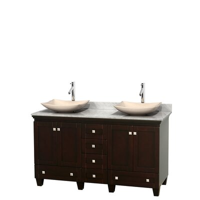 Acclaim 60 Double Bathroom Vanity Set Top Finish: White Carrera, Basin Finish: Ivory Marble, Base Finish: Espresso