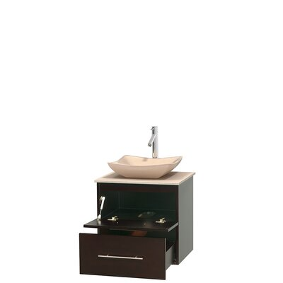 Centra 24 Single Bathroom Vanity Set Base Finish: Gray Oak, Top Finish: Ivory, Basin Finish: White Carrera Marble