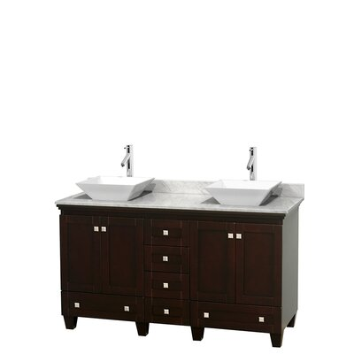 Acclaim 60 Double Bathroom Vanity Set Basin Finish: White Porcelain, Base Finish: Espresso, Top Finish: White Carrera