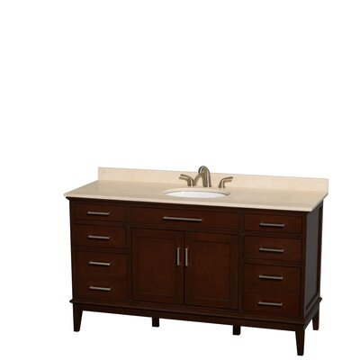 Hatton 60 Single Bathroom Vanity Set Base Finish: Dark Chestnut, Top Finish: Ivory