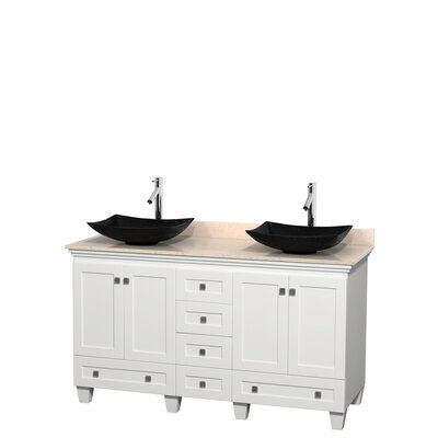 Acclaim 60 Double Bathroom Vanity Set Top Finish: Ivory, Base Finish: White