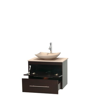 Centra 30 Single Bathroom Vanity Set Top Finish: Ivory, Basin Finish: Ivory Marble, Base Finish: Espresso