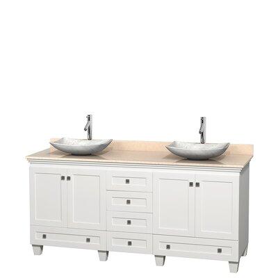 Acclaim 72 Double Bathroom Vanity Base Finish: White, Top Finish: Ivory, Basin Finish: White Carrera Marble