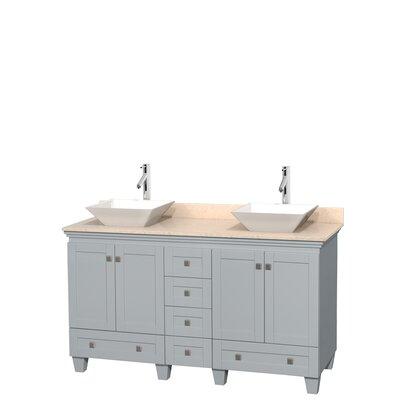 Acclaim 60 Double Bathroom Vanity Set Base Finish: Oyster Gray, Top Finish: Ivory, Basin Finish: White Porcelain