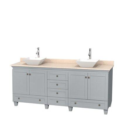 Acclaim 80 Double Bathroom Vanity Set Base Finish: Oyster Gray, Basin Finish: White Porcelain, Top Finish: Ivory