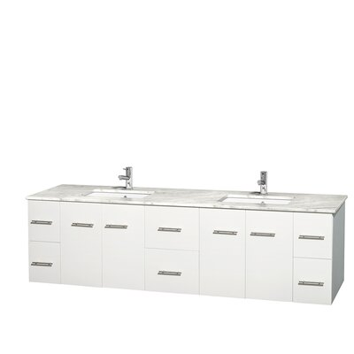 Centra 80 Double Bathroom Vanity Set Base Finish: Matte White, Top Finish: White Carrera