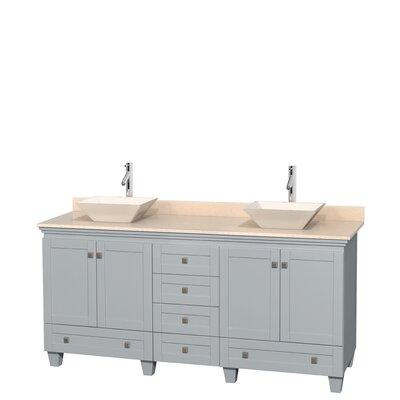 Acclaim 72 Double Bathroom Vanity Base Finish: Oyster Gray, Top Finish: Ivory, Basin Finish: Bone Porcelain