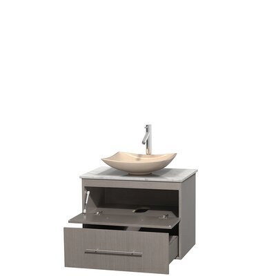 Centra 30 Single Bathroom Vanity Set Base Finish: Gray Oak, Top Finish: White Carrera, Basin Finish: Ivory Marble