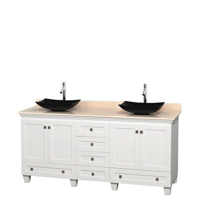 Acclaim 72 Double Bathroom Vanity Top Finish: Ivory, Base Finish: White